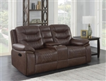 Flamenco Reclining Console Loveseat in Brown Breathable Performance Leatherette by Coaster - 610202