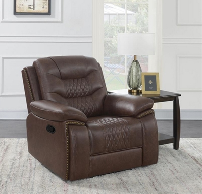 Flamenco Recliner in Brown Breathable Performance Leatherette by Coaster - 610203