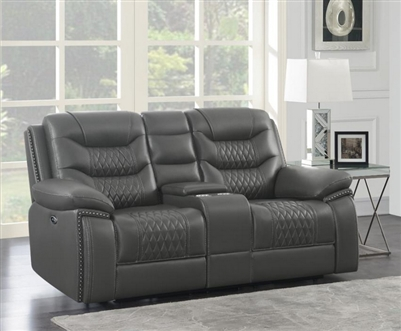 Flamenco Reclining Console Loveseat in Charcoal Breathable Performance Leatherette by Coaster - 610205