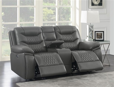 Flamenco Power Reclining Console Loveseat in Charcoal Breathable Performance Leatherette by Coaster - 610205P