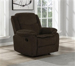 Jennings Glider Recliner in Brown Performance Chenille Fabric by Coaster - 610253