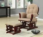 Tan Microfiber Glider with Matching Ottoman by Coaster - 650010
