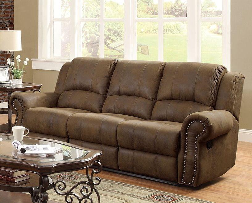 Sir Rawlinson Reclining Sofa In Brown Microfiber By Coaster 650151