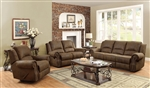 Sir Rawlinson 2 Piece Reclining Sofa Set in Brown Microfiber by Coaster - 650151-S