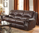 Sir Rawlinson Reclining Sofa in Burgundy Brown Leather by Coaster - 650161