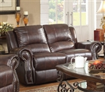 Sir Rawlinson Gliding Reclining Loveseat in Burgundy Brown Leather by Coaster - 650162