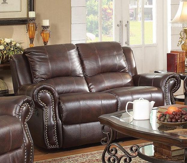 Superb Sir Rawlinson Gliding Reclining Loveseat In Burgundy Brown Leather By Coaster 650162 Inzonedesignstudio Interior Chair Design Inzonedesignstudiocom