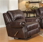 Sir Rawlinson Swivel Rocker Recliner in Burgundy Brown Leather by Coaster - 650163