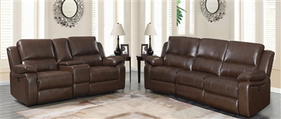 Channing 2 Piece Power Living Room Set in Brown Leatherette Upholstery by Coaster - 650181-S