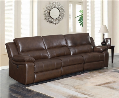 Channing 3 Piece Power Sofa in Brown Leatherette Upholstery by Coaster - 650181P