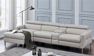 Beryl 4 Piece Power Sectional in Light Grey Leatherette by Coaster - 650370PP