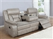 Greer Reclining Sofa with Drop Down Table in Taupe Performance Leatherette Upholstery by Coaster - 651351