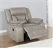 Greer Gliding Recliner in Taupe Performance Leatherette Upholstery by Coaster - 651353