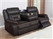 Greer Reclining Sofa with Drop Down Table in Dark Brown Performance Leatherette Upholstery by Coaster - 651354