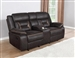Greer Gliding Reclining Console Loveseat in Dark Brown Performance Leatherette Upholstery by Coaster - 651355