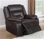 Greer Gliding Recliner in Dark Brown Performance Leatherette Upholstery by Coaster - 651356