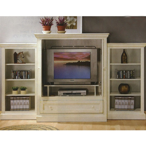 White Finish Wood Planked Country Look 3 Piece Entertainment Wall Unit With Open Piers By Coaster 700081