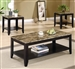 Marble Like Top 3 Piece Occasional Table Set in Black Finish by Coaster - 700155