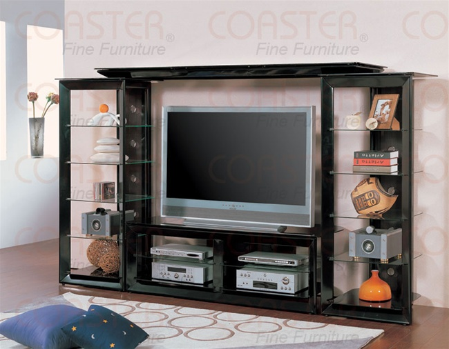 Modern Style Pearl Black Finish 4 Piece Entertainment Center By Coaster    700163