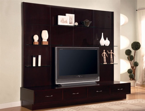 Cappuccino Finish Contemporary Style TV Console with Glass Shelving