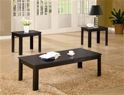 3 Piece Occasional Table Set in Black Finish by Coaster - 700225