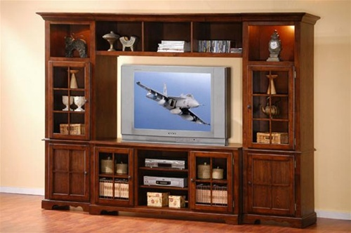 4 Piece Merlot Oak Finish Wall Unit With Lights In Towers