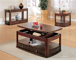3 Piece Accent Table Set in Distressed Cherry Finish by Coaster - 700247
