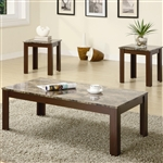Marble Like Top 3 Piece Occasional Table Set in Brown Finish by Coaster - 700395