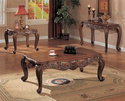 3 Piece Occasional Table Set in Deep Brown Cherry Finish by Coaster - 700467S