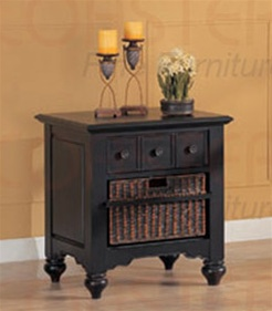 End Table in Black Finish with Storage Basket by Coaster 700477