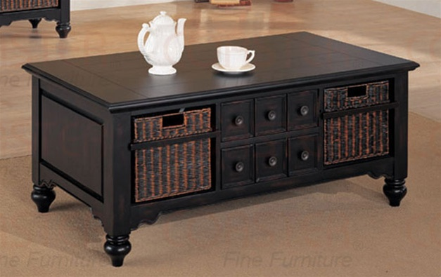 Occasional Coffee Table in Black Finish with Storage