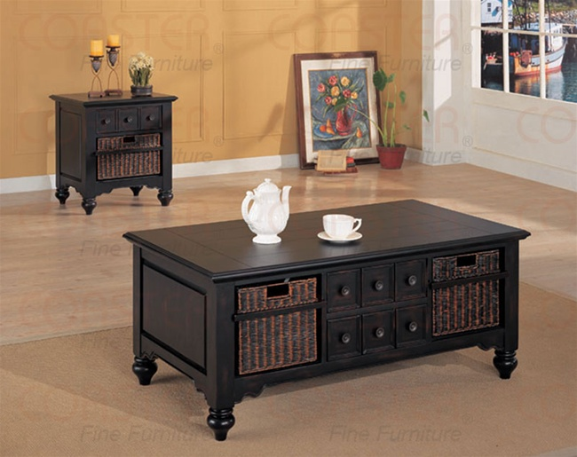 occasional coffee table in black finish with storage basket