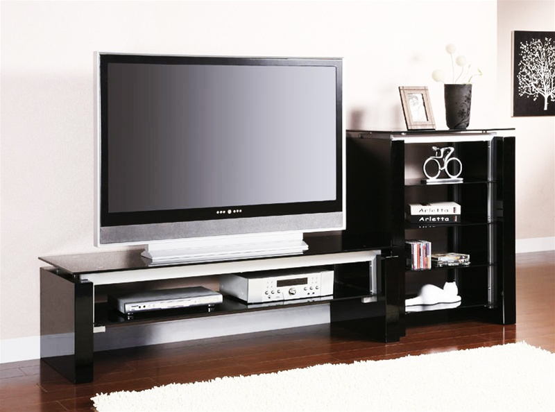 Black And Silver Tv Stand With Side Pier By Coaster 700670