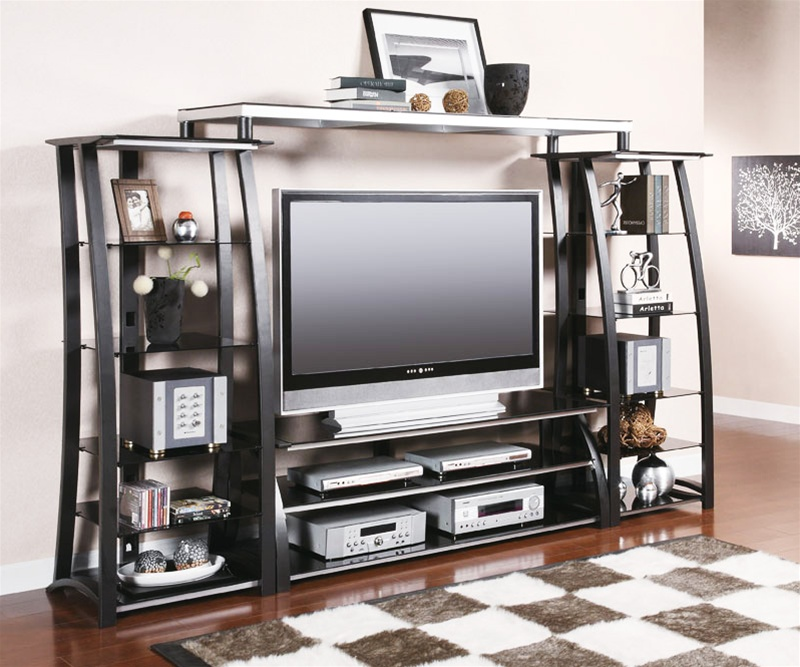"""60"""" TV Console Entertainment Center in Black and Silver Finish by"""