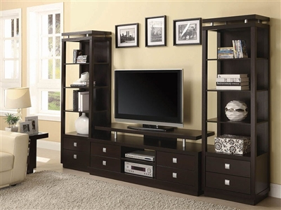 3 Piece Entertainment Center in Cappuccino Finish by Coaster - 700696-3