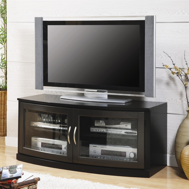 50 inch tv stand in black finish by coaster 700707. Black Bedroom Furniture Sets. Home Design Ideas