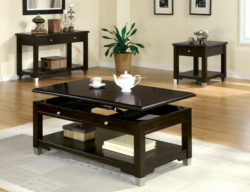 Living Room 3 Piece Table Sets piece occasional table set in rich dark brown walnut finish
