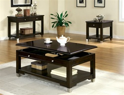 3 Piece Occasional Table Set in Rich Dark Brown Walnut Finish by Coaster - 701198