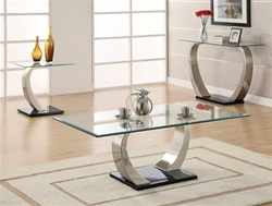 Glass Top 3 Piece Occasional Table Set by Coaster - 701238S