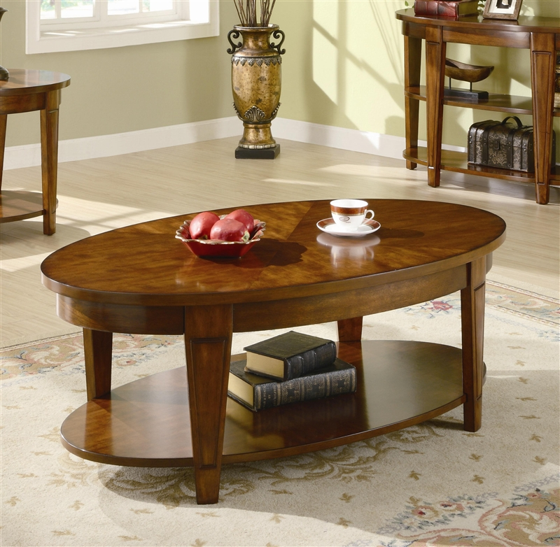 Oval Lift Top Coffee Table in Cherry Finish by Coaster ...