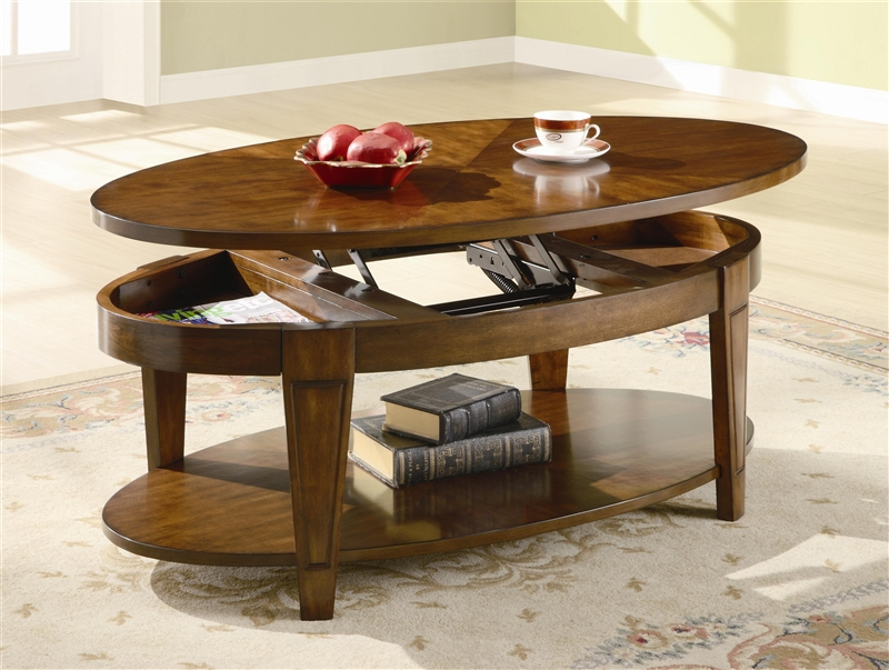 Oval Lift Top Coffee Table In Cherry Finish By Coaster 701308