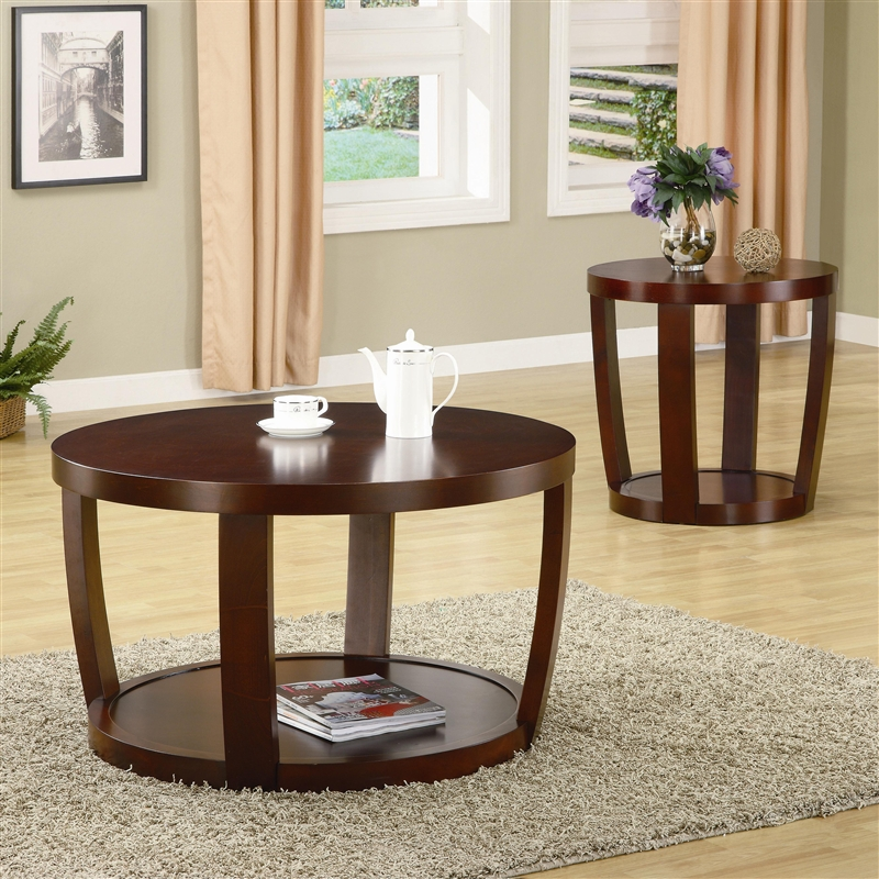 & Round Coffee Table in Rich Cherry Finish by Coaster - 701318