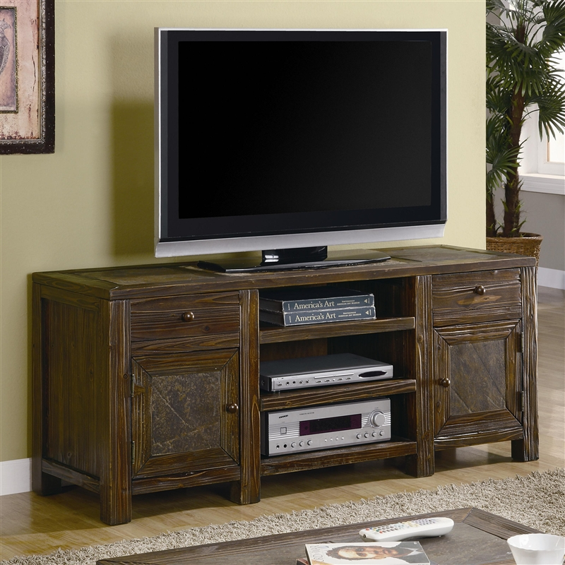 60 Inch Tv Stand In Distressed Brown Oak Finish By Coaster 701372
