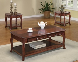 Warm Brown Cherry 3 Piece Occasional Table Set by Coaster - 701508