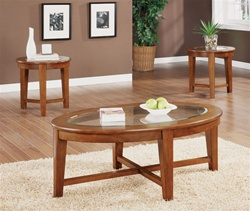 3 Piece Occasional Table Set in Warm Light Brown Finish by Coaster - 701512
