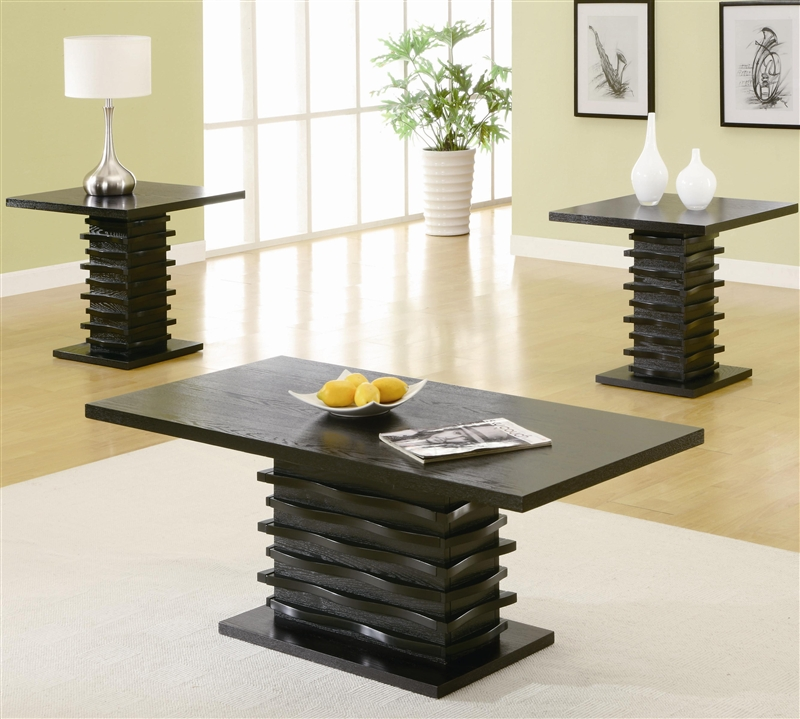 3 piece occasional table set in black finish by coaster 701514