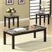 Marble Like Top 3 Piece Occasional Table Set in Nut Brown Finish by Coaster - 701523