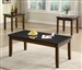 Marble Like Top 3 Piece Occasional Table Set in Rich Walnut Finish by Coaster - 701564
