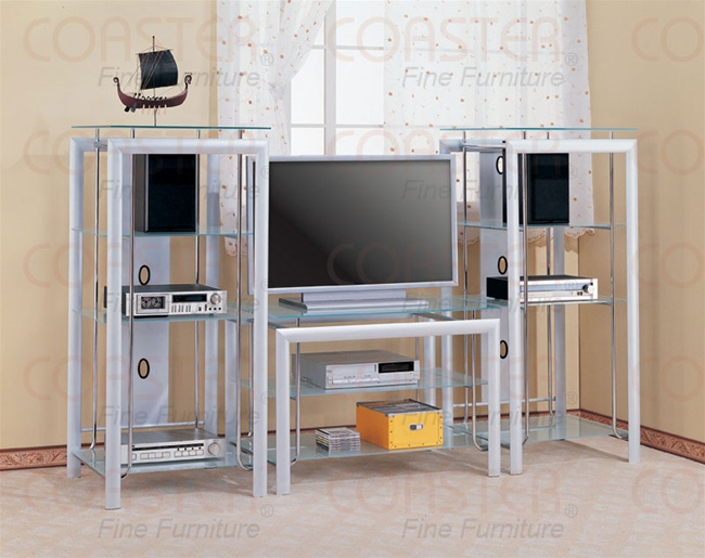 modern style silverchrome finish 3 piece entertainment center with frosted glass by coaster 7183 - Glass Entertainment Center