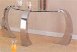 Beveled Kidney Occasional Glass Sofa Table With Chrome Plated Legs by Coaster - 720059